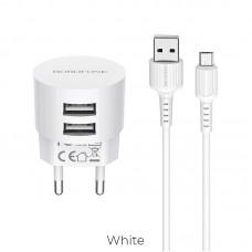 ADAPTADOR 220V + MICRO USB 2.4A BA23A BLANCO