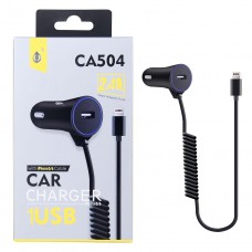 ADAPTADOR 12V COCHE A USB CA504 2.4A + CABLE IPHONE